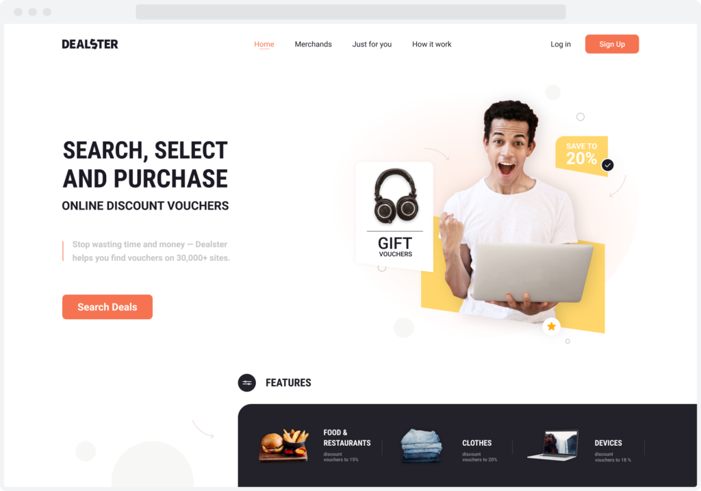 Home page for Dealster, a voucher aggregator