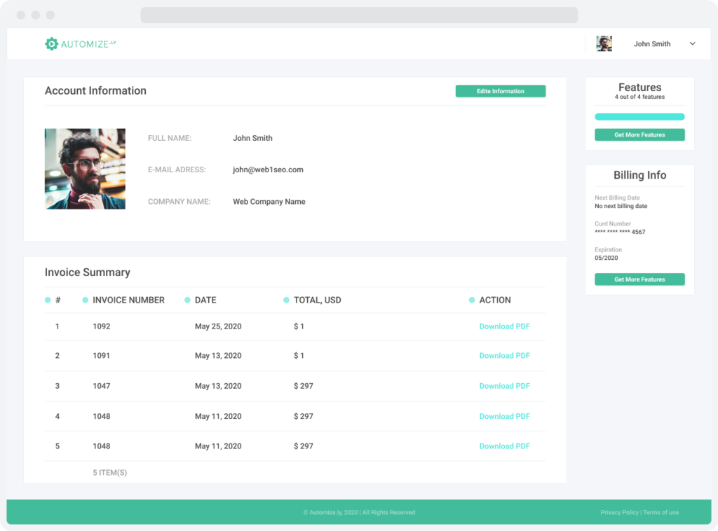 Account information page for Automizely, a