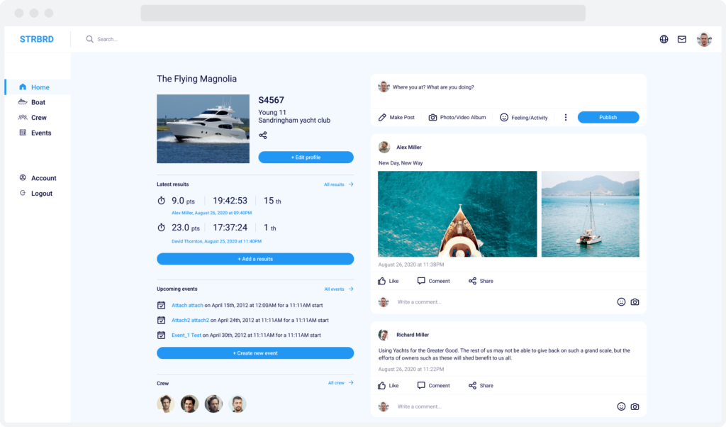 Home page for STRBRD, a yacht and crew management system