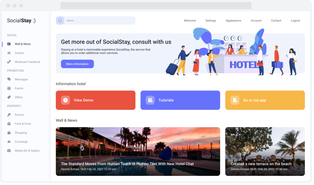 Home page for SocialStay, a web solution providing hotel guests with interactive services